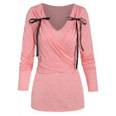 Women Bowknot Detail V Neck Crossover T-shirt - M PINK LFIXNNH