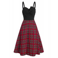 Women Bowknot Plaid Ruched Vintage Midi Dress - S BLACK Trends 2021 XEWEAXG