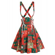 Women Christmas Printed Lace Up Suspender Skirt - 2xl RED Collection WDLMUWN