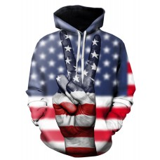 Men 3D Fingers American Flag Print Pullover Hoodie - 2xl COLORMIX In Store EXWARMN