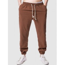 Men Beam Feet Casual Solid Color Pants - M COFFEE on clearance RXPMHFY