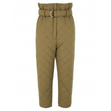 Casual pants 8 Women QUILTED RECYCLED NYLON HIGH-WAIST PAPERBAG CROP PANT Military green 2021 New IPCWWVR